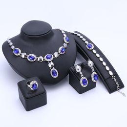 anel de esmeralda africano Desconto Nova Conjuntos de Jóias Africano Banhado A Ouro Imitado Sapphire / Ruby Esmeralda De Cristal Mulheres Colar De Casamento Pulseira Brinco Set Anel