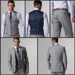 Wholesale men s dinner jackets - Wholesale- Hot Sale Groom Tuxedo Light Grey Groomsmen Notch Lapel Wedding Dinner Suits Best Man Bridegroom (Jacket+Pants+Tie+Vest) B267