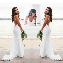 Wholesale Tulle Fishtail Wedding Dresses - Katie May Mermaid Beach Lace Wedding Dresses 2017 Modest Fashion Spaghetti Backless Country Bohemian Fishtail Bridal Holiday Dress