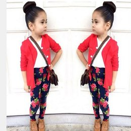 Wholesale Girls Cardigan Retail - Wholesale- CCS258 3 pcs roupas infantis menina T-shirt + cardigan + printing pants leggings child clothes girl suits retail