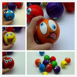 Wholesale Wholesale Squeeze Toys - 6.3CM Funny Emoji Sponge Squeeze Stress Ball Wrist Finger Training Balls Soft Sponge PU Bouncy Ball Kids Novelty Toys Decompression toys