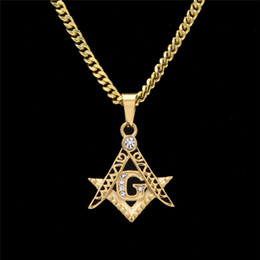 Wholesale Mini Heart Necklaces - High-Quality Hip-Hop AG Masonic Coat Of Arms Small Pendant Mini Exquisite Stainless Steel Jewelry Men's Diamond Necklace