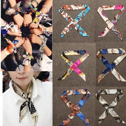Wholesale Small Ribbon Bow For Hair - Wholesale-New Small Silk Twilly Scarf Ribbon Hair Band Bags Handle Decoration Bow Tie Multifunction Ribbon For Women Fashion High Quality