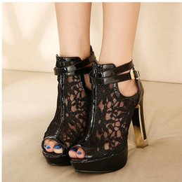 Wholesale White Bridal Boots - New Bridal Wedding Shoes Lace Wedding Boots Summer Hollow Out Platform Shoes Party Evening size 35-42