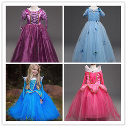 Wholesale Cotton Sleeping Gown - 2017 new arrival Girls Aurora Lace Dress Sweety Sleeping Beauty gown party costume performance cosplay clothes 5 sizes for 3-9T girls gifts