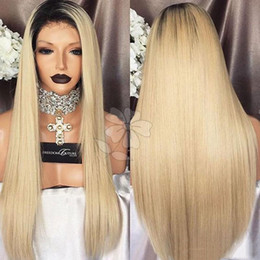 Wholesale Top Quality Lace Front Wigs - Top Quality Synthetic Wigs Silky Straight Ombre Blonde Hair Glueless Lace Wig Heat Resistant Synthetic Lace Front Wigs for Black Women