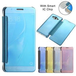 Wholesale Back View Mirror - Pure Color Luxury Smart Mirror View Window Flip Case Slim Cover Back For Samsung J5 (2015 Version)