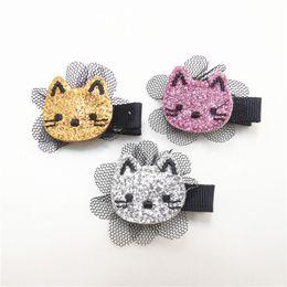 Wholesale Mini Mesh Flowers - 15pcs lot Glitter Felt Kitty Hair Clip Embroidery Cat Barrette with Black Flower Mesh Mini Kid Girl Hair Grips Cartoon Pinch