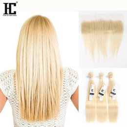Wholesale Brazilian Baby Hair Weave - HC Brazilian Virgin Hair 613 Blonde Straight Human Hair Weave 3 Bundles With Lace Frontal 13*4 Ear To Ear Lace Frontal With Baby Hair
