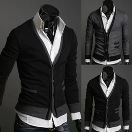 Wholesale Mens Cardigan Sweaters Xl Black - 2017 New autumn Mens sweaters male V neck winter men coat jumpers Casual Sweater brand cardigan masculino pocket jersey outerwear