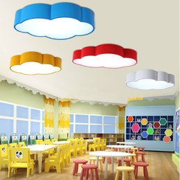 Wholesale Kids Ceiling Lights For Bedroom - LED cloud kids room lighting children ceiling lamp baby ceiling light with yellow blue red white color for boys girls bedroom decoration