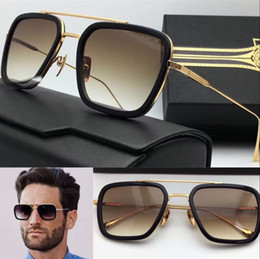 Wholesale new logo sunglasses flight square frame coating mirror lens gold plated men brand designer UV400 lens retro style top quality