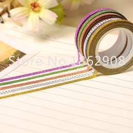 Wholesale Glitter Adhesive Tape - Wholesale- 2016 10 colors 3mm glitter tape adhesive masking washy tape