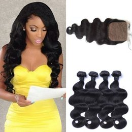 Wholesale Brazilian Baby Hair Weave - peruvian virgin hair body wave with closure bleached knots unprocessed human hair peruvian silk base closure with baby hair G-EASY