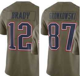 Wholesale Gronkowski Jersey Xxl - 2017 New Olive Salute To Service Limited jerseys New England 12 Tom Brady 87 Rob Gronkowski jersey 100% Stitched