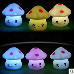 led mushroom nightlight Canada - Cute LED Mushroom Lamp 6.5cm Color Changing Party Lights Mini Soft Baby Child Sleeping Nightlight Novelty Luminous Toy Gift
