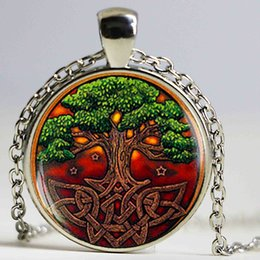 Wholesale Vintage Irish - Celtic Tree of life Pocket pendant Necklace, Irish Jewelry Scandinavian Celtic Pendant Vintage Accessories