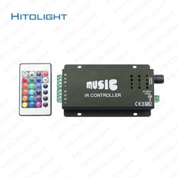 Wholesale Ir Controller For Led Lights - HITOLIGHT DC12-24V 12A Music Controller IR Remote Control Aluminum LED RGB Music Controller & for Audio Sound Sensitive for Strip Light