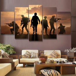 Wholesale Sunset Canvas Art Framed - HD Print abstract soldiers sunset Painting on canvas wall art picture for home decor print canvas painting picture No Frame