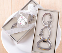 Wholesale Forever Gifts Favors - 100PCS LOT Newest forever love chrome beer bottle opener wedding favors and gifts for guests Party gifts supplier Bridal shower