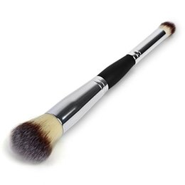 Wholesale Silver Handles Brushes - 1PC Silver Handle Double Head Professional Multifunction Cosmetics Eyeshadow Foundation Face Blusher Blush Makeup Brushes