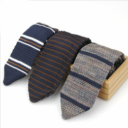 Wholesale Men Striped Neckties - New Design Fashion Male Brand Slim Designer Knitted Ties Neck Ties Cravate Narrow Skinny Neckties For Men Striped Ties
