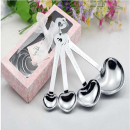 Wholesale Measuring Spoon Hearts - Love Wedding Favors of Simply Elegant Heart Shaped Stainless Steel Measuring Spoon 4pcs set Gift Box