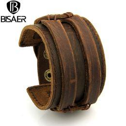 Wholesale Double Man Leather Bracelets - Wholesale- BISAER Leather Cuff Double Wide Bracelet and Rope Bangles Brown for Men Fashion Man Bracelet Unisex Jewelry I0296