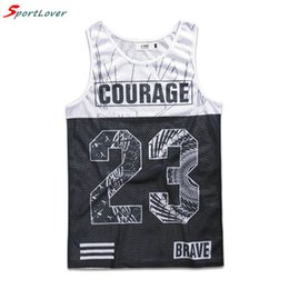 Wholesale Numbers Vests - Sportlover 2016 Summer Style New Mens Casual Tank Tops Shirt Basic Fitness Men Printed Numbers 23 Tank Top Vest