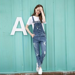 Wholesale Suspender Jeans Women - Wholesale- Spring Fashion Ripped Jeans Jumpsuits Ladies Girls long Pants Casual Women Rompers bib overalls Suspenders
