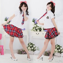 Wholesale Cosplay Sexy School Uniform - Newest Japanese Red Plaid Dress Sexy Cosplay Costume Sailor Suit School Uniforms Nightclub Stage Performances Clothes GY008