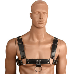 Wholesale Black Leather Tape - Black Leather Men Chest Harnesses Belt Fetish Body Bondage Straps Male Sexy Erotic Costume Gays Sexual Wear Sex Toys for Couples