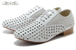 Wholesale Short Heel Red Wedding Shoes - MBL995J Size 36-46 Men Women White Leather Gray Suede With Short Silver Spikes Round Toe Red Bottom Oxfords, Gentleman Wedding Dress Shoes