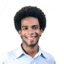 Wholesale Brazilian Virgin Hair Wigs Sale - Hot Sale 6inch natural black virgin brazilian hair afro curl human hair toupee for men free shipping