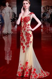Wholesale Host Model - Tail a Toast To The Bride Take Show Thin Trailing Female Host Party Evening Dress 2017 New Long