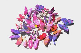 Wholesale 3d Artificial Butterflies - free shippingWholesale 13 Colors 12pcs set 3d Butterfly Wall Stickers Artificial Butterflies Decoration Pvc Removable Wall Stickers In Stock