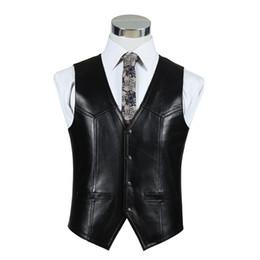 Wholesale Motorcycle Sheepskin Jackets Men - Wholesale- Black Genuine Leather Motorcycle Vests Mens Real Sheepskin Jacket Autumn Winter Brown Waistcoat Formal Vest Quality Clothing