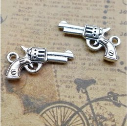 Wholesale Ancient Gun - B4653 21.7*11.8mm gun, ancient silver alloy jewelry accessories, factory direct 80   bag 1.4 grams