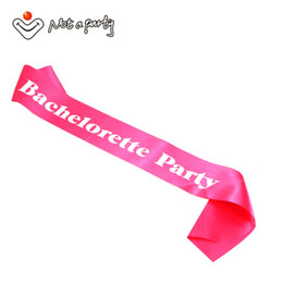 Wholesale Satin Ribbon Supplies - Wholesale- Wedding event pink sash 60% off for 3pcs satin ribbon bachelorette hen bridal bridesmaid maid of honor event party supplies