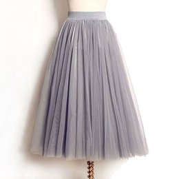 ladies tutus Promo Codes - Wholesale- 4 Layers Tulle Skirts Women Summer Elastic High Waist Ladies long mesh Skirt Womens Tutu Maxi Pleated Skirt midi Faldas Saias