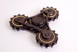 Wholesale Metal Gear Free - new coming linkage gear hand spinner fidget high-end quality fidget spinners black color fingertip gyro wholesale dhl free