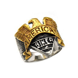Wholesale Mens Gold Biker Rings - Stainless steel mens Biker Rings AMERICAN Titanium Eagle Retro Gold&Silver BIKER Rings For men s Fashion Jewelry Accessories Hot sale