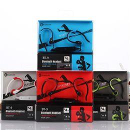 Wholesale Headphone Sport Fashion - New Fashion BT-9 Bluetooth Headset Wireless Earphone Headphone Bluetooth 4.1 Sport Running Stereo with microphone