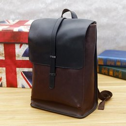 Wholesale Mens Outdoor Travel Bag - New mens bags retro crazy horse leather men travel backpack in Europe and the leisure outdoor large capacity color matching men backpack