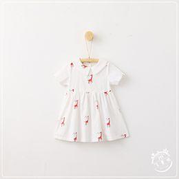 Wholesale Korean White Short Dress - 3 style Korean style 2017 new arrival girl summer chicken butterfly Giraffe cartoon Printed dress high quality cotton short Sleeve dress