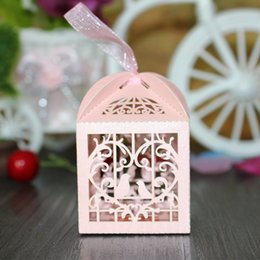 Wholesale Candy Box Pink - Wholesale- 50pcs Love Heart White Bird Cage Small Laser Gift Candy Boxes Wedding Party Favor With Ribbon Bags Decor Pink