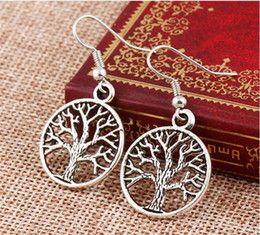 Wholesale 925 Silver Earring Fish - New in Tree Of Life Earrings 925 Silver Fish Ear Hook Antique Silver Chandelier 20pairs lot free shipping
