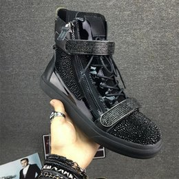 Wholesale Heightening Shoes - New arrival diamonds double zipper inner heightening shoes fashion woman's men's real lather wedge heel high-top casual shoes