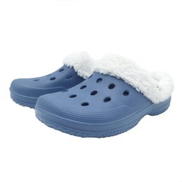 Wholesale Beach Gardening Shoes - Women Winter Clogs Warm Freesail Fuzz Lined Slippers Slip on Sandals Indoor Outdoor Garden EVA Shoes Blue US Size 6-10