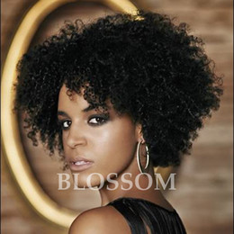 Wholesale Brazilian Afro Lace Wig - Human Hair Wigs For Black Women Peruvian Afro Kinky Curly Lace Front Wigs With Baby Hair 8inch Black Color None Lace Wig